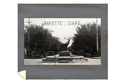 Lantern Press Payette, Idaho - View of Elk Statue from Depot Photograph 32190 (88x104 King Microfiber Duvet Cover) (Home Barrel Depot Fiber)