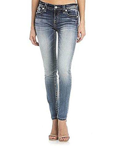 Miss Me Glam Show Border Medium Wash Skinny Cut Jeans Womens M3170S (29) - Miss Me Leather Jeans