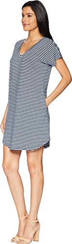 Vee Allen Stripe Allen Sleeve Womens Lapis with Short Dress Pockets xBRx7p