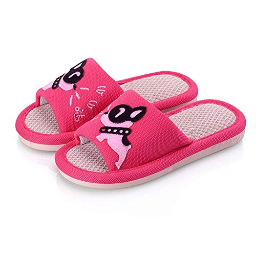 Girls Boys House Slippers Dog Cute Open Toe Puppy Flax Comfort Indoor -