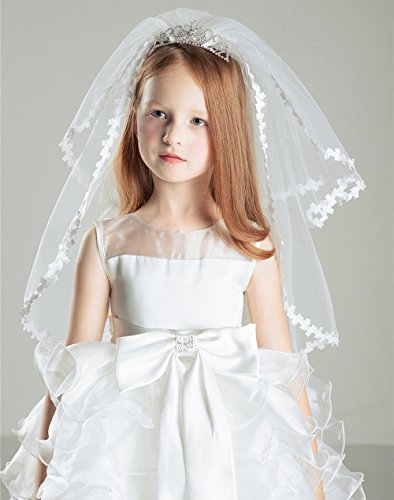 AliceHouse Girl's Two Layers Rhinestone Tiara Bridal Flower Girls Veil MGV09 by AliceHouse (Image #1)