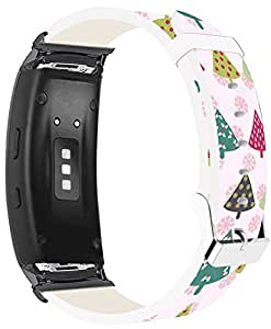 Samsung Galaxy Gear Fit2 Pro Bands Leather Replacement, Samsung Galaxy Gear Fit 2/Fit2 Pro Straps Black Connectors + Christmas Printing Theme Design Colorful Xmas Tree Girly