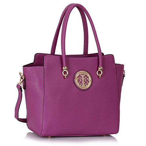 Handbag Metal Purple Leather Ladies Faux Quality Body Shoulder Women's Designer Polished Style Celebrity Cross Fashion Bag CWS00149 ppn0qwXB