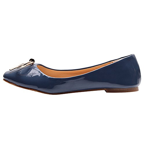 Blue Tie Loafer Dolly Flats Ballerinas Patent with Leather Women Shoes Jamron Lovely PU Soft xaHqwCnxOF