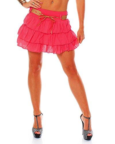 ZARMEXX Mesdames mignon Volantrock jupe d't Mini jupe avec ceinture jupe  volants en coton (taille unique, 36-40) Pink
