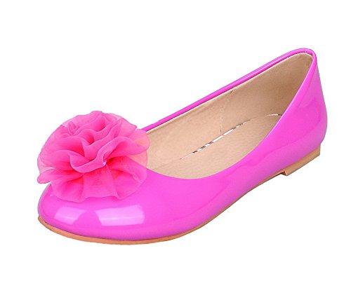 Amoonyfashion Dames Effen Pu Lage Hak Ronde Neus Pumps-schoenen Rosered
