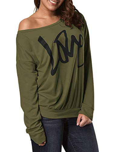 Strapless Sweater (joyliveCY Women's Digital Print Long Sleeve Strapless Army Green Pullover Love Printed)