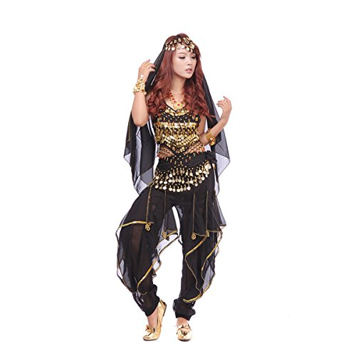 Belly Dance Costumes Professional (Pilot-trade Women's Belly Dance Costume Set 4-pieces Top Pants Hip Scarf Head Scarf with Gold Coins Black)