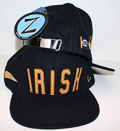 ZHATS Notre Dame University ND Fighting Irish Blue Wool Legend Mens Boys Flatbill Snapback Hat/Cap Size Adjustable - Best Old School Feel