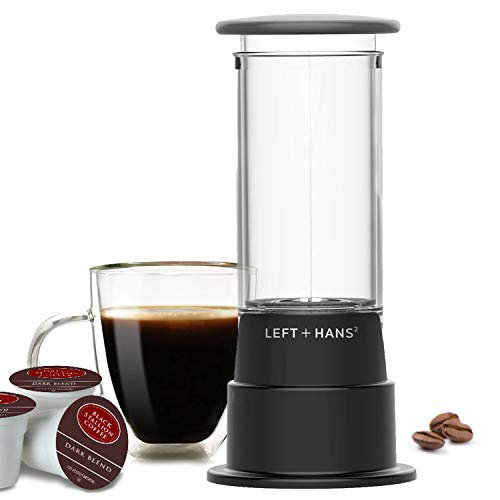 LEFT+HANS Travel Size Coffeemaker Single Serve Manual Brewer for K-Cups System Coffee Machine for K-Cup, Black