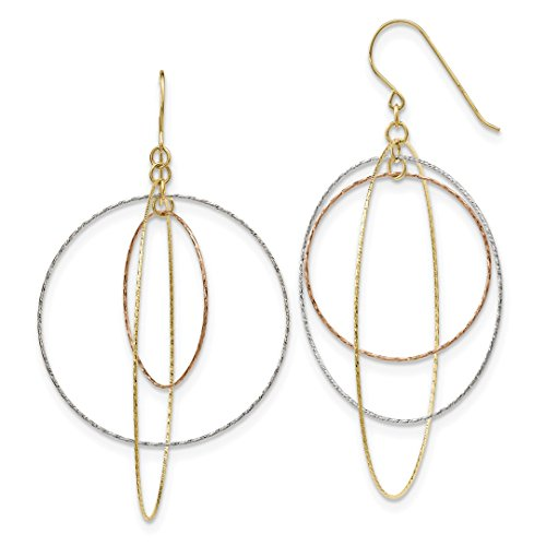 ICE CARATS 14kt Tri Color Yellow White Gold Graduated Circles Shepherd Hook Drop Dangle Chandelier Earrings Fine Jewelry Ideal Gifts For Women Gift Set From Heart Graduated Circle Earrings