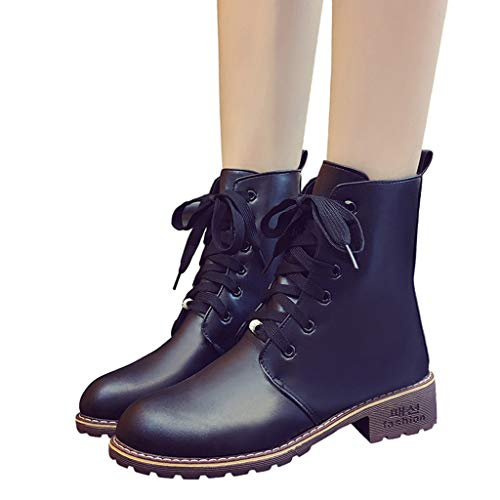 Cheap Boots Lace Up Ankle Boot - OverDose Women Classic Round Toe Leather...