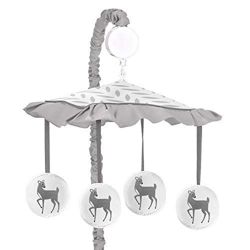 Sweet Jojo Designs Girl or Boy Musical Baby Crib Mobile Grey Gold and White Forest Deer and Dandelion Collection [並行輸入品]   B07GGX78JC