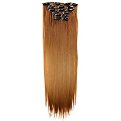 Suppion 6Pcs Full Head Natural Women 16 Clips Synthetic Straight Hair Extensions (A)