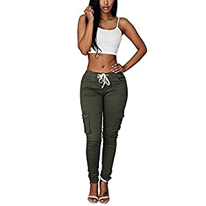 f53610d893a6 Coutgo Womens Casual Stretch Drawstring Skinny Pants Cargo Jogger Pants