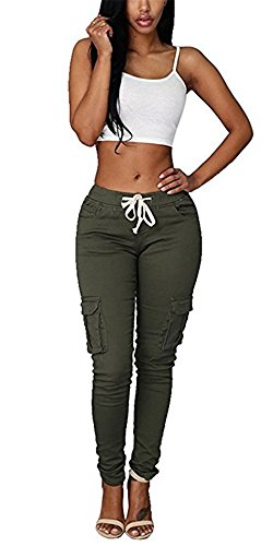 Coutgo Womens Casual stretch drawstring skinny pants cargo jogger pants (S, green) (Stretch Pant Drawstring)