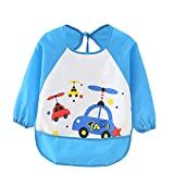 Kids Childs Arts Craft Painting Apron Baby Bib Messy Play Wipe Clean Coverall-Unisex Baby Waterproof Sleeved Bib Eat and Play Smock,Toddler Apron of PEVA Whale (blue)