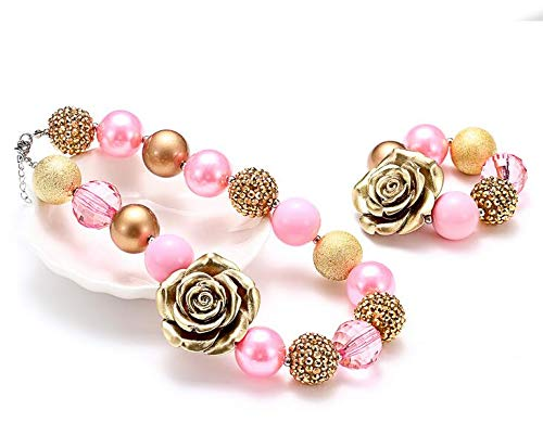 iKammo Pink Gold Rose Chunky Bubblegum Necklace and Bracelet Set for Little Girls,Princess Dress Up Play Jewelry Costume Necklaces Bracelet Set for Kids Gifts ,Party Favor (Pink Gold Rose) ()