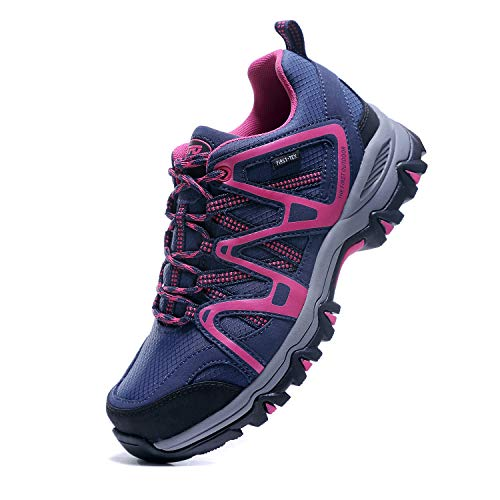 Women's Hiking Shoes Waterproof First-Tex Membrane Breathable Trekking Running Trail Shoes (Size 5.5, Blue/Rose)