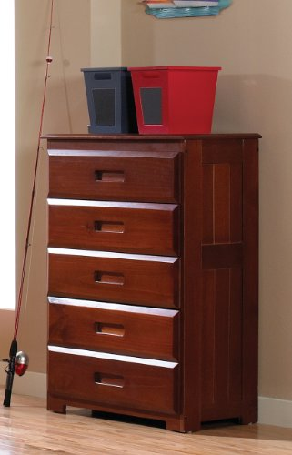 Mission Twin Over Full Staircase Bunk Bed with 3 Drawers, Desk, Hutch, Chair and 5 Drawer Chest in Merlot Finish by Discovery World Furniture (Image #3)