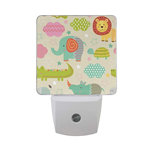 2 Pack Plug-in LED Night Light Lamp Baby Jungle Animals Printing with Dusk to Dawn Sensor for Bedroom, Bathroom, Hallway, Stairways, ()