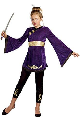 [Mememall Fashion Lotus Warrior Japanese Girl Ninja Tween Costume] (Han Solo Costume Girl)
