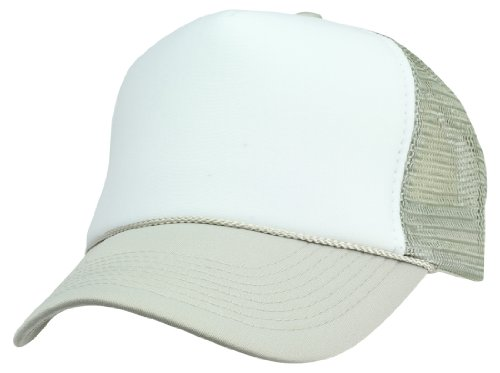 DALIX Blank Hat Two Tone Summer Mesh Cap in Gray and White Trucker Hat
