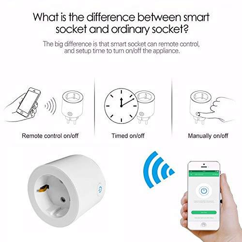 Google Home und IFTTT YiYouTech Intelligenter Stecker WLAN-Ausgang EU-Smart-Buchse mit Energie/überwachung und Timer-Funktion kein Hub erforderlich 1 Pack kompatibel mit Alexa Echo