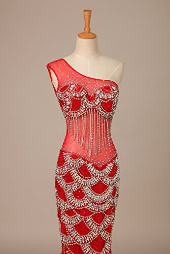 Bridal_Mall - Vestido - Sin mangas - para mujer Rojo