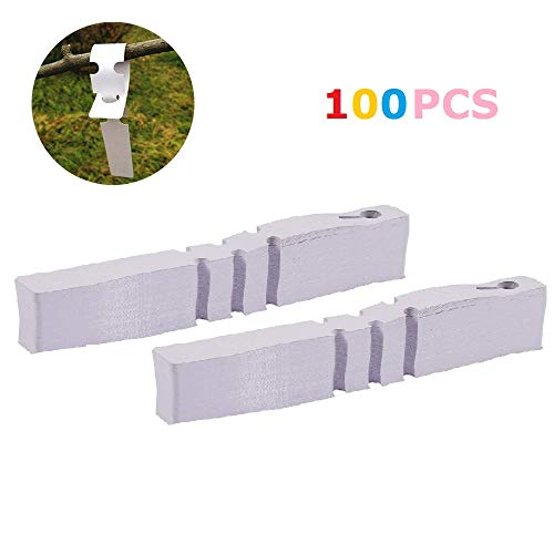 (FASHIONROAD 200 Pcs Weatherproof Wrap Around Tags, 2x21cm White Plastic Plant Tree Tags Nursery Garden Plant Lables)