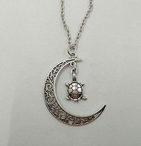 1pc Ancient Silver Moon and Turtle Pendant Necklace Jewelry Handmade Necklace JI7C
