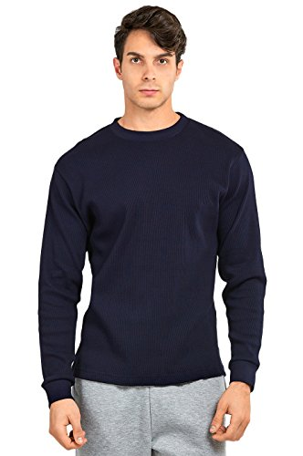 (Men's Classic Fit Waffle-Knit Heavy Thermal (L, Navy))