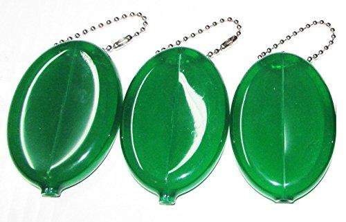 3 GREEN RUBBER SQUEEZE COIN HOLDER (Green Coin Book)