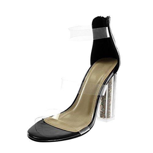 Tanga Scarpe Paillette Tacco A Angkorly Decollete Trasparente Nero Moda Cm 5 Alto Blocco Sandali Disco Donna 10 Aqqg8w
