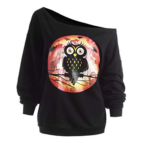 BETTERUU Women's Plus Size Halloween Owl Skew Neck Sweatshirt Pullover Tops Blouse Shirt(Black, L) -