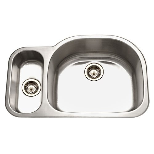 picture of Houzer MG-3209SL-1 Medallion 32-by-21-Inch 80/20 Double Bowl Undermount Stainless Steel Sink, Left Side Prep Sink