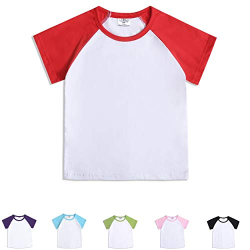 CloudCreator Toddler Baby Girls Boys Short Sleeve Shirts Raglan Shirt Baseball Tee Cotton T-Shirt Red Baby Short Sleeve Toddler T-shirt