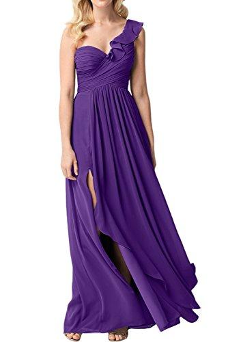 Ein A Linie Elegant Promkleid Chiffon A Abendkleid Partykleid Schulter Violett Damen Ivydressing Linie qwE4On0A4