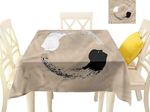 WilliamsDecor Fabric Tablecloth Yin and Yang,Human Portraits Picnic Cloth W 60