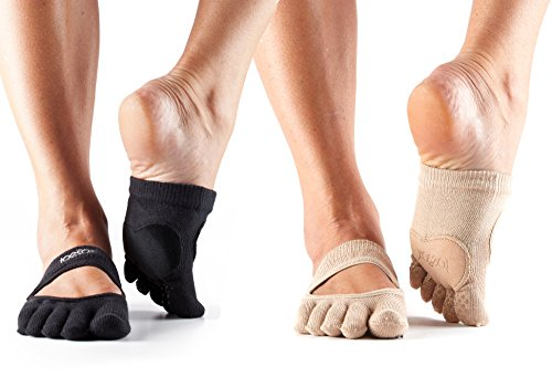 ToeSox Releve Full Toe Dance Socks 2 Pack (Black & Nude, Medium)