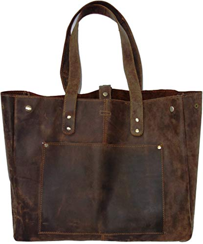 (AurDo Genuine Vintage Cow Leather Tote Bag Elegant Shopper Shoulder Bag (Hunter Natural Brown) )