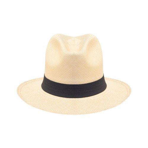 Nastro a tesa larga-classico tradizionale stile Panama-Cappello di paglia 21c6b269183a