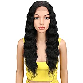 "Joedir Lace Front with 1.5″x4″ Simulated Scalp Wig 24"" Long Wavy Heat Resistant Synthetic Wigs For Black Women 130% Density(Natural Black Color)"