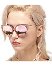 Myiaur Cat Eye Mirror Sunglasses Women Polarized UV Protection Fashion Style Design