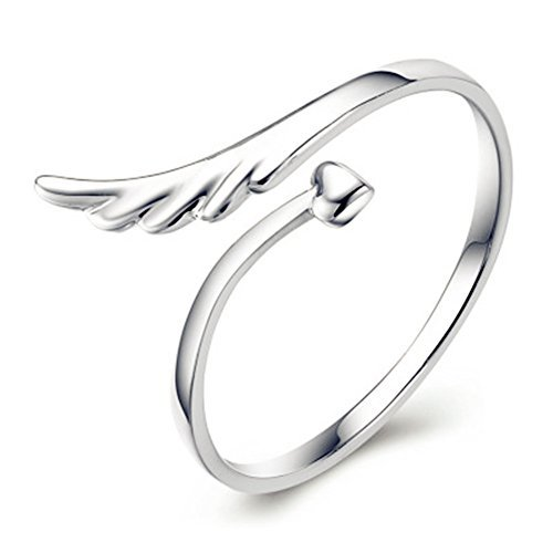 (925 Silver Plated Vintage Angel Wings Heart Womens Open Band Ring,Adjustable)