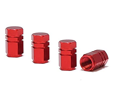 iJDMTOY (4) Tuner Racing Style Red Aluminum Tire Valve Caps (Hexagon Shape) iJDMTOY Auto Accessories Four Universal Aluminum Tire Valve Cap