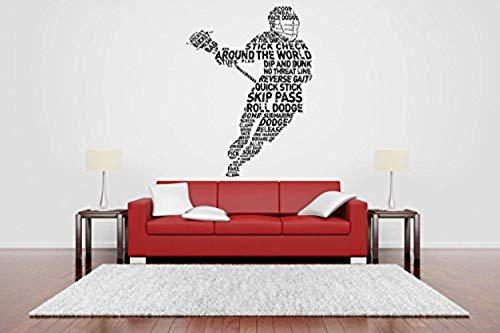 AnewDecals Removable Vinyl Sticker Mural Decal Wall Art Decor Helmet Lax Lacrosse Racket Poster Sport Ball Active Boy Girl Bedroom Nursery Playroom Trophy MZ2213]()
