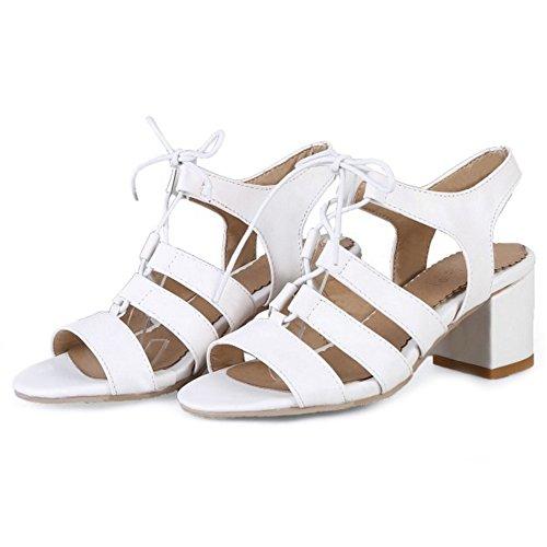 para romanas tacón blancas SJJH las bajo 4 y moda Sandalias colores grandes sandalias de con mujeres de TPdxWa8q