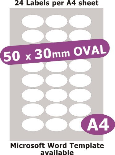 Minilabel 50X30mm Oval , 120 Labels , Gloss Paper Laser , 5 A4 Sheets , Laser Printer Stickers ()