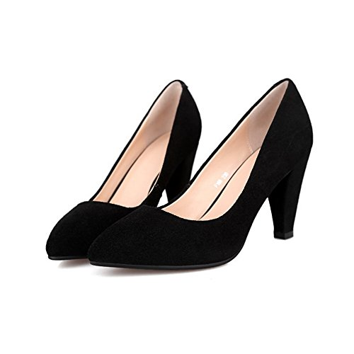 VogueZone009 Women's Frosted Pull On Pointed Closed Toe High Heels Solid Pumps Shoes Black OXFgMV